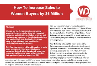 how to increase sales to women buyers by 6 million